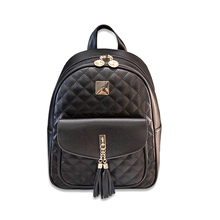 Fashion Women Backpack High Quality Youth Leather Backpacks for Teenage Girls Female School Shoulder Bags Bagpack tassel black