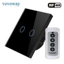 Vovoway EU touch switch,light switch,RF Wireless remote control,1\2\3Gang AC110V 220V,Wall post installation