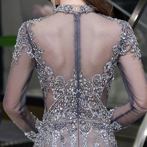Image 5 - Dubai Luxury Mermaid Evening Dress 2020 Gorgeous Gray High Neck Beaded Beading Rhinestones Crystal Long Sleeve Formal Gown