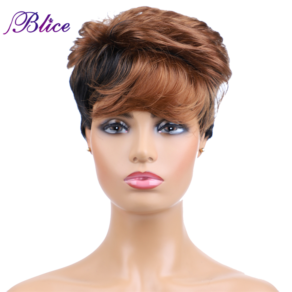 Blice Synthetic Nature Wave Short Wigs Mix Color FT1B/30 Kanekalon 6Inch Full Machine Made Women Wigs