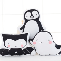 INS Plush Toys Black And White Penguin Double sided Printing Pillow Baby Whales Bat Doll Lumbar Support Pillow Customizable