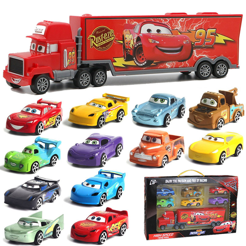 Disney Pixar Car 3 Lightning McQueen Toy Car Jackson Storm Mack Uncle Truck 1:55 Diecast Metal Car Model Toy Boy Christmas Gift image