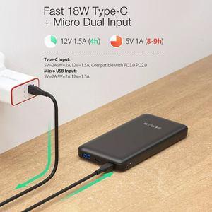 """Image 4 - BlitzWolf BW P9 18W 10000mAh USB פ""""ד QC 3.0 כוח בנק סוג C מהיר טעינה כפולה עבור iPhone 12 פרו מקסימום עבור Xiaomi עבור Huawei"""