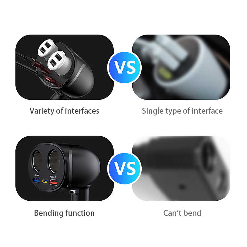 12/24V รถซ็อกเก็ตไฟแช็ก Splitter Plug Dual USB QC3.0 Fash Charge 12V รถอะแดปเตอร์ซ็อกเก็ตสำหรับรถบรรทุกรถบรรทุก