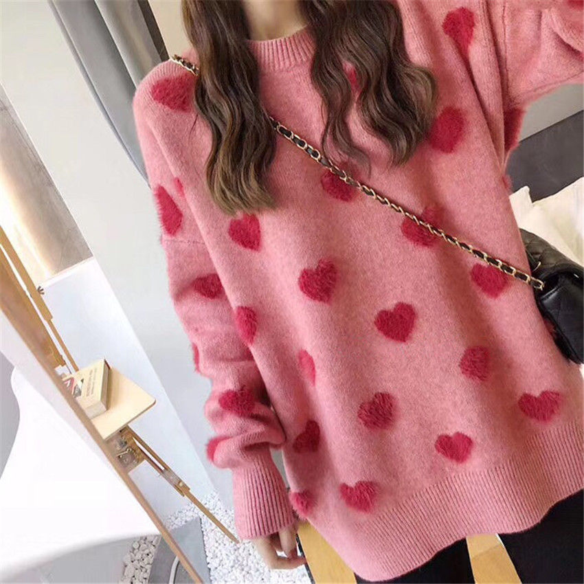 Sweater women's loose jacket fall winter love pullover long sleeve lazy style net red fashion retro knit top 2020 New hot sale 1