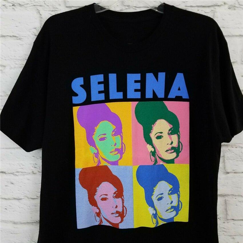 Selena Quintanilla Graphic Tee Shirt Large Crew Neck Black Short Sleeve Teenage Pop Top Tee Shirt