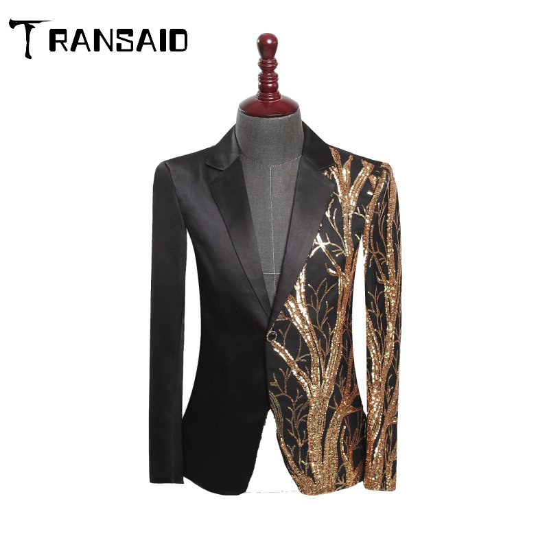 Gold Sequins Black Slim Fit Suit Jacket Men Blazer Banquet Nightclub Singers Blazer Glitter Wedding Tuxedo Coat Blazer Jacket