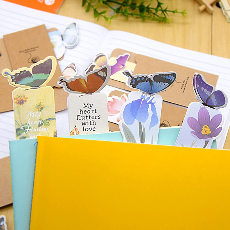 Book Marker Gift 14Pcs/Pack Butterfly Style Random Bookmark Cartoon 3d Bookmark Realistic Cute Kawaii Teacher`s Gift