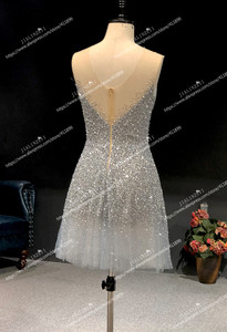 Image 2 - Rijn Real Pictures Sexy Grijs Blauw Luxe V hals En V Terug Knie Lengte Party Jurken Prom Dresses 2020