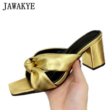 Gold Silver Knotted Leather Slippers Square Open toe Chunky High heel Mules Ladies Beach party Shoes women's Summer Slippers