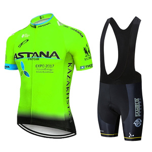 Image 3 - 2019 Astana Team Rode Korte Mouwen Jersey Fiets Kleding Mountainbike Set 20D Gel Wielertrui Pak Ciclismo