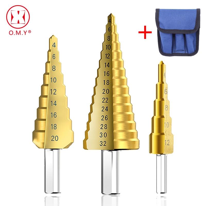 1/3 pçs/lote Profissional HSS Aço Grande Passo Cone Triangular punho Revestido De Metal Broca Conjunto de Ferramentas de Corte Buraco cortador 4-12/20/32mm