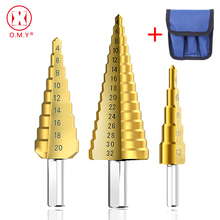 цена на 1/3Pcs/lot Professional HSS Steel Large Step Cone Triangular handle Coated Metal Drill Bit Cut Tool Set Hole Cutter 4-12/20/32mm