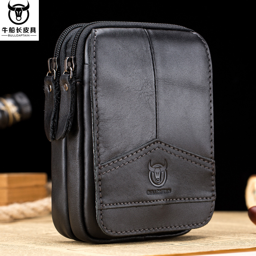 BULL CAPTAIN Brand Genuine Leather Casual Belt Cross Waist Fanny Pack 6.5' Cell Phone Pouch Wallet Case Men Hook Hang Bum Bags