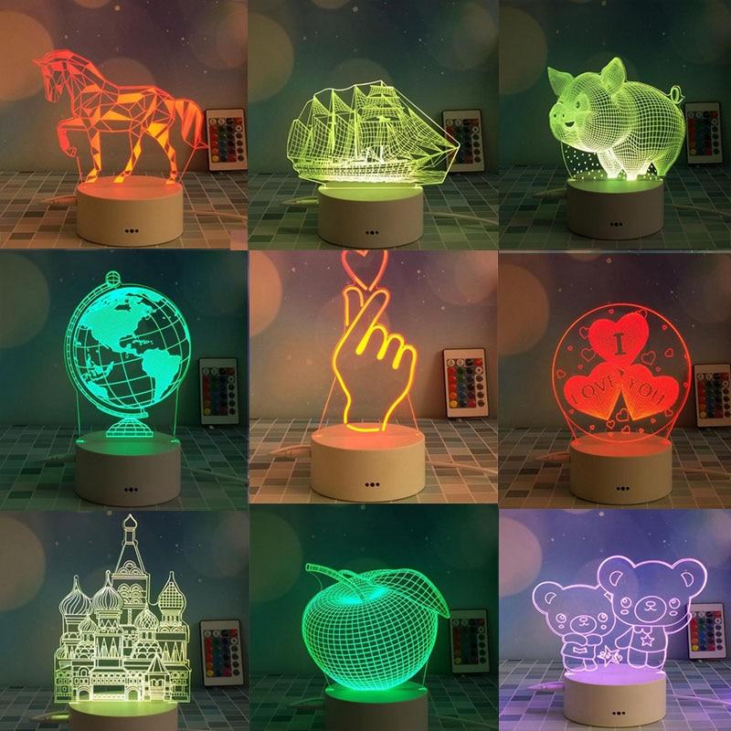 Usb sensor de toque luz da noite colorida lâmpada controle remoto criativo presente aniversário iluminação
