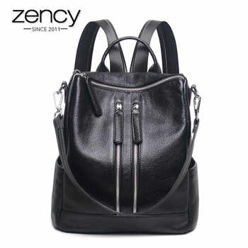 Zency Famous Brand New Style Women Genuine Leather Backpack Fashion Simple Travel Bags Female Knapsack Schoolbags Preppy - Category 🛒 Luggage & Bags