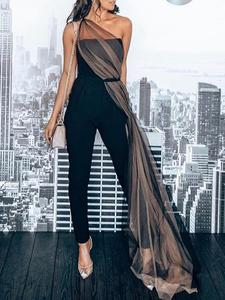 Ocstrade Bandage Jumpsuit Party-Club Bodycon Black One-Shoulder Evening Women Celebrity