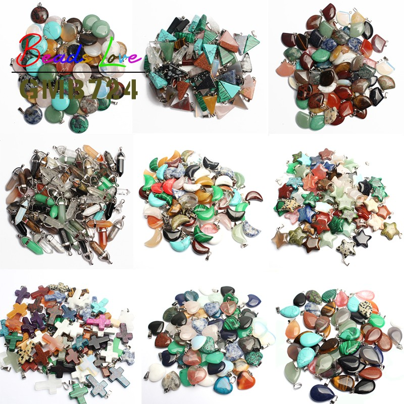 Wholesale 10pcs Mixed Natural Stone Pendant Love Heart Star Charms Pendants for Jewelry Making Diy Bracelet Necklace Accessories