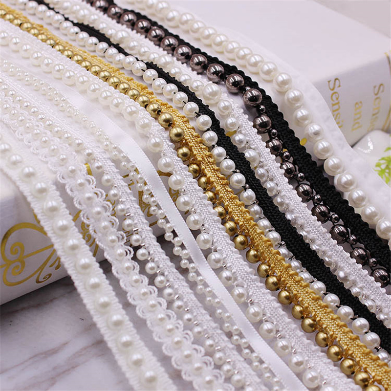 1Yards Vintage Pearl Beaded Lace Trim Tape Lace Ribbon African Lace Fabric Collar Dress Sewing Garment Headdress Materials 7LS88(China)