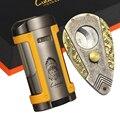 LUBINSKI Высококачественная сигарная Зажигалка резак набор Металл 4 факел зажигалка для сигары W держатель Топ нержавеющая сталь Сигара резак д...