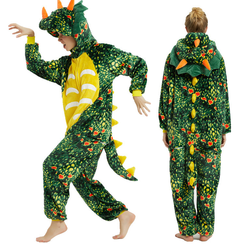 Image 5 - Winter Unisex Pajamas dinosaur Animal Pyjamas Women Kigurumi Adult onesies Cosplay Flannel stitch Onesie SleepwearPajama Sets   -