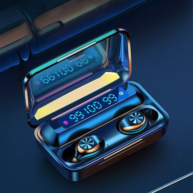 F9 TWS bezprzewodowe słuchawki Bluetooth 5.0 F9 TWS Bluetooth słuchawki wsparcie Xiaomi / iPhone z 2000mah power bank 9D Stereo