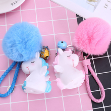 Cute plush unicorn keychain female hair ball fluffy bell imitation rabbit doll toy girl bag key pendant WJ236