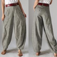 Повседневные мешковатые штаны-шаровары женские осенние брюки ZANZEA винтажные Панталоны с молнией спереди размера плюс укороченные женские брюки Palazzo