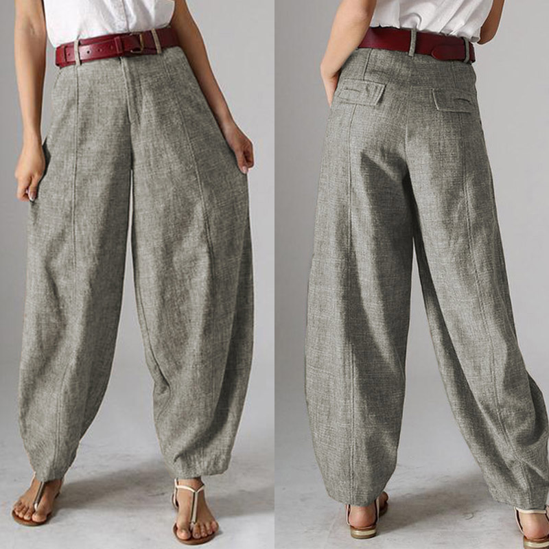 Casual Baggy Harem Pants Women's Autumn Trousers ZANZEA 2020 Vintage Front Zipper Pantalon Plus Size Cropped Pant Woman Palazzo