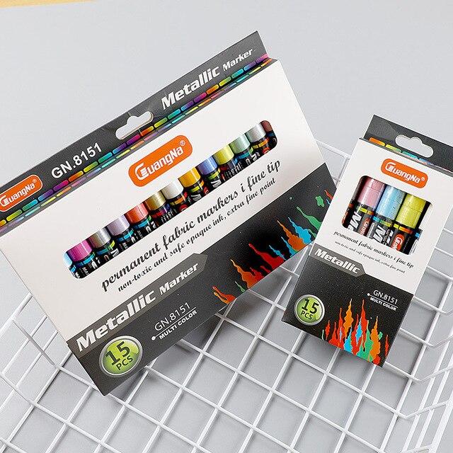 15 צבעים מתכתי עט קבוע אקריליק סמני צבע עבור לשרבט גבולות דפוסים ומלאכת פרויקטים/מבוסס סמני Waterproof
