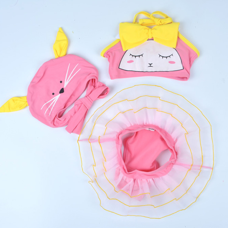 Korean-style Cartoon One-piece Swimsuit For Children Girls Baby Infant CHILDREN'S Tour Bathing Suit Rabbit Kitten Rainbow Swimmi