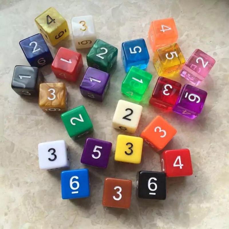 10 Pcs/set 6 Sided Digital Dice Funny Puzzle Game Send Children 16 Mm Random Color