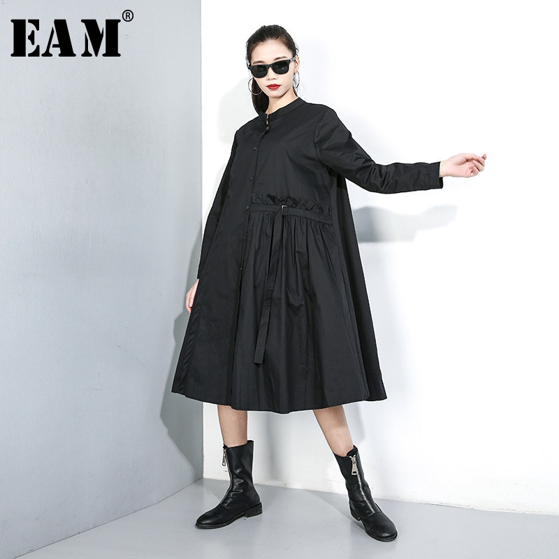 [EAM] Women Pleated Split Big Size Shirt Dress New Stand Collar Long Sleeve Loose Fit Fashion Tide Spring Autumn 2020 1K44