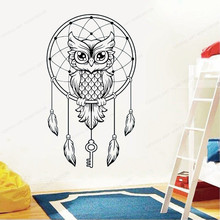 Dream Wall Decal Owl catcher Vinyl wall Sticker Bird Feathers removable art mural home wall decor JH77 arrow wall decal dreamcatcher vinyl wall sticker bohemian design bedroom decor dream catcher feathers symbol wall mural ay1451