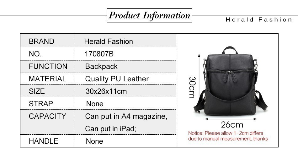 H08a8385b56724b3cb7f66488df3a1fd4r Herald Fashion Women's PU Leather Backpack School Bags For Teenage Girls Large Capacity Backpack Laptop Bag Drop Shipping
