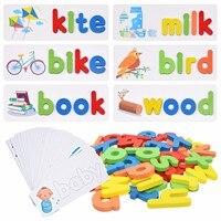 モンテッソーリ-赤ちゃんや子供のための木のおもちゃ,アルファベットと文字のパズル,就学前の教育ゲーム