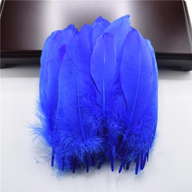 Жесткий полюс, натуральные гусиные перья для рукоделия, 5-7 дюймов/13-18 см, самодельные ювелирные изделия, перо, свадебное украшение для дома - Цвет: Light Royal blue