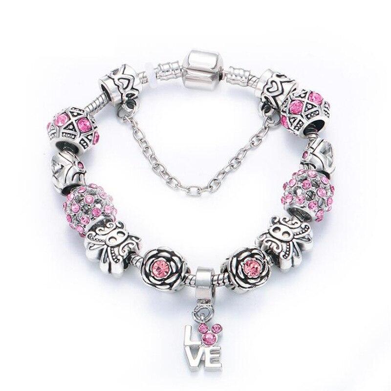 Colgante de corazón de cristal con cuentas de plata de ley 925 para mujer, regalos de vacaciones de joyería DIY