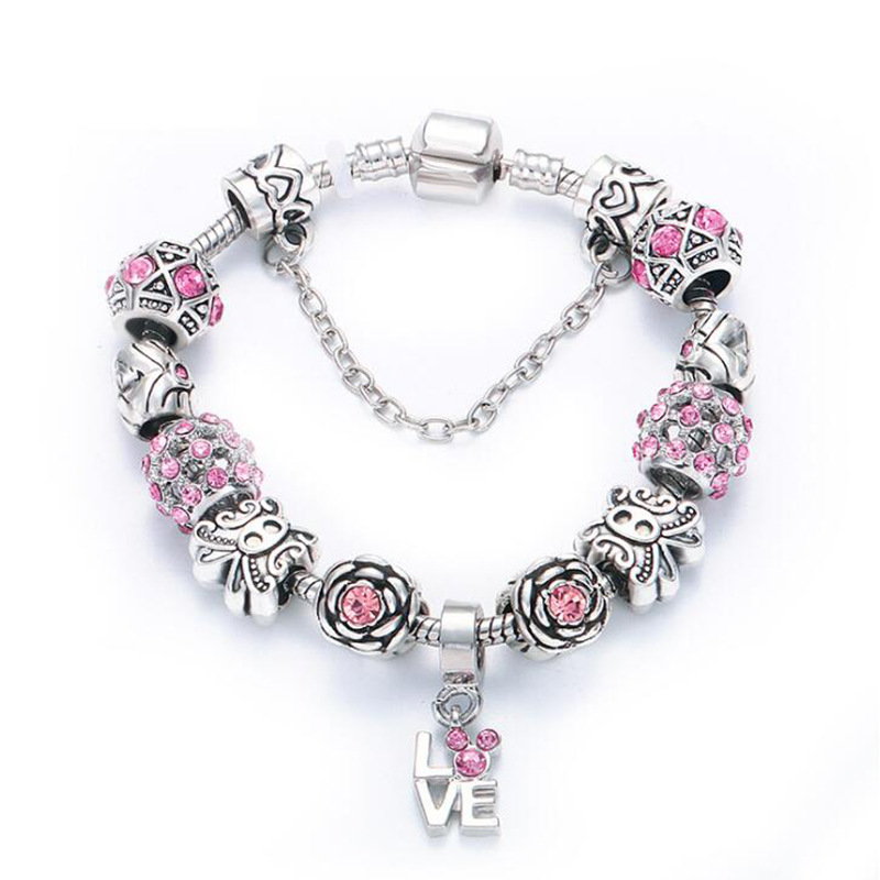 Fit Original Pandoras 925 silver Pink charm beads I love You Heart crystal pendant Bracelets Women DIY Jewelry Holiday gifts(China)