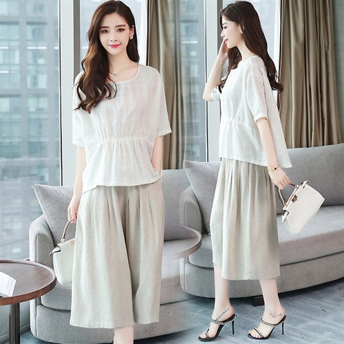 Two-Piece Set Cotton Linen Dress Women's Summer Mid-length 2019 New Style Fat Mm Belly Covering Slimming Flax Set Skirt