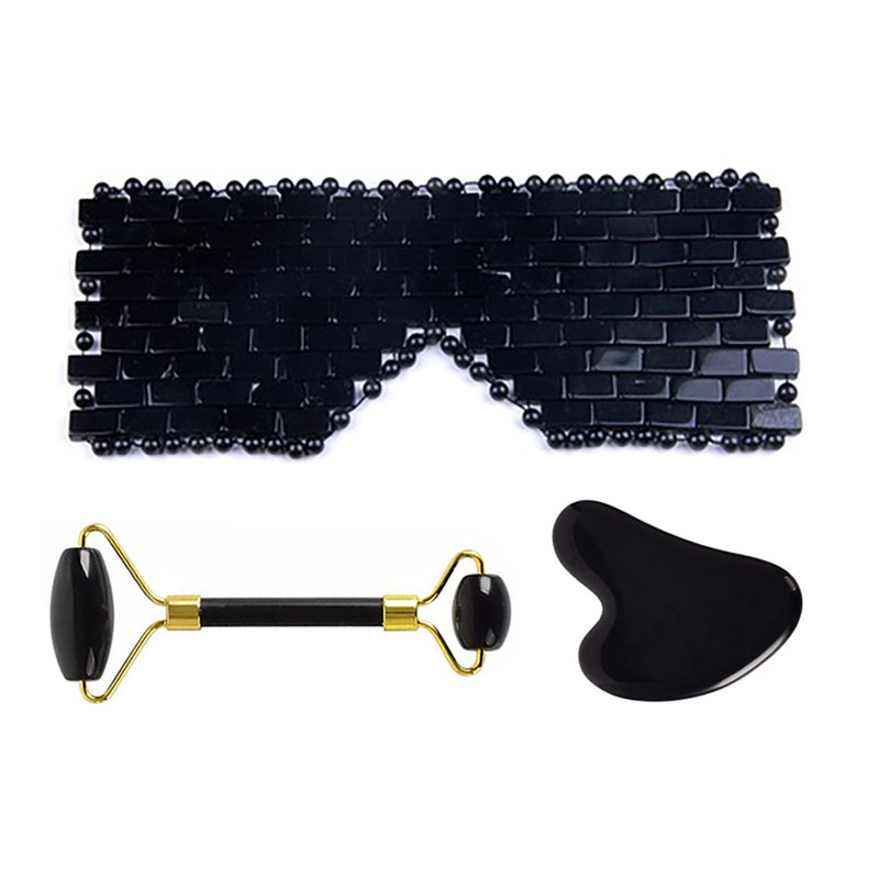 2020 New Jade Eye Mask Natural Black Obsidian Facial Massage Roller Guasha Set Eye Massager Therapy Jade Stone Skin Care Tool