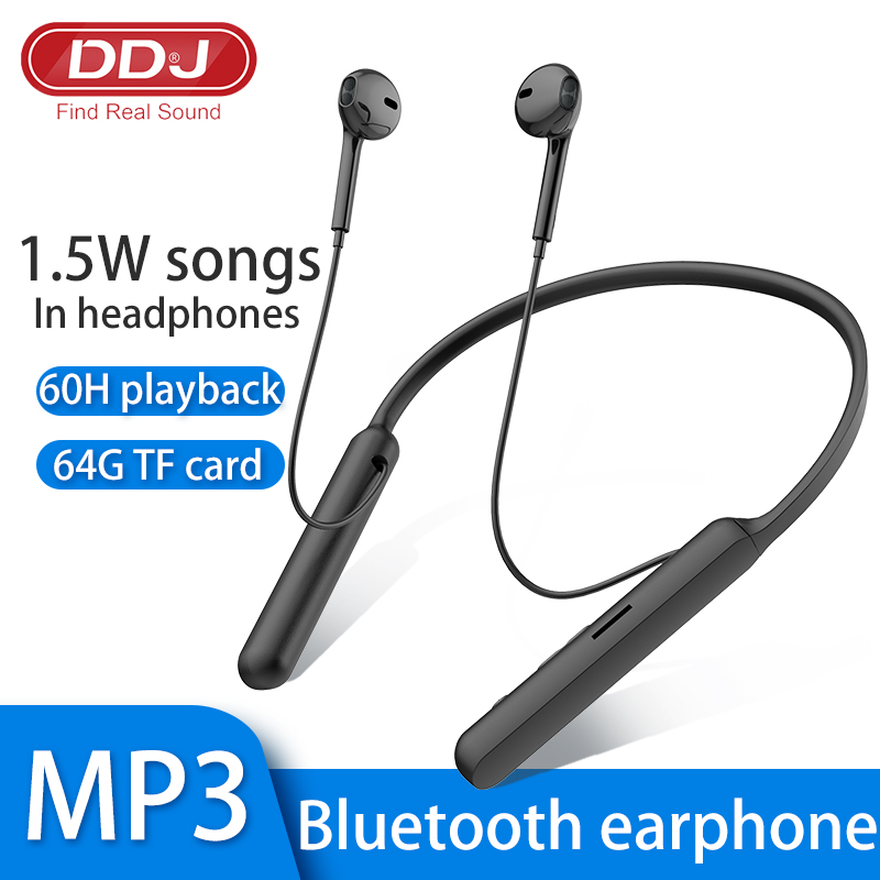 DDJ 5 0 Wireless Bluetooth Headphones HIFI Subwoofer Handsfree Call Multi-Function Button Hanging Neck Game Earphones with Card