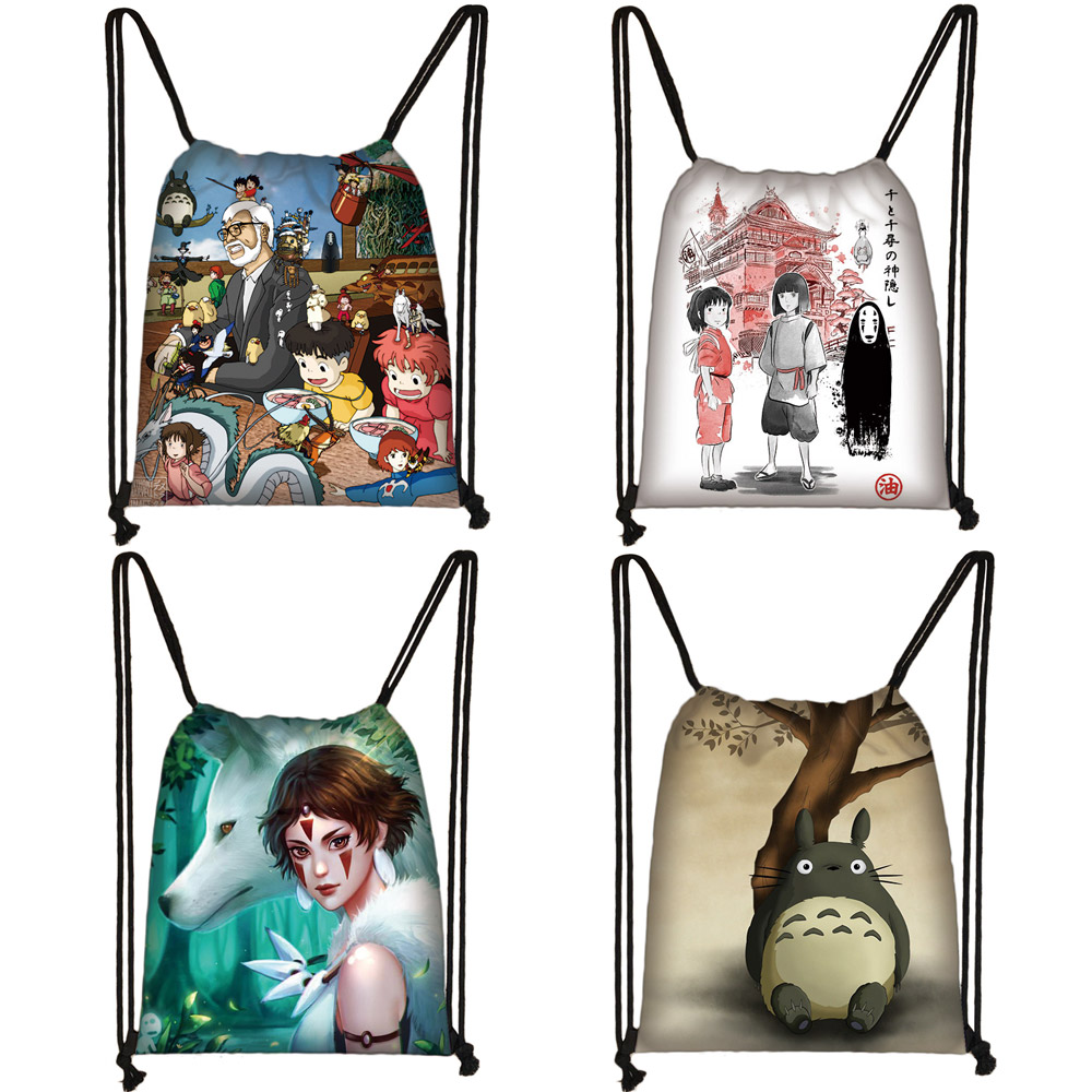 Cartoon Spirited Away / Totoro Drawstring Bag Women Fashion Storage Bags Teenager Boys Girls Backpack Travel Shopping Bag Gift