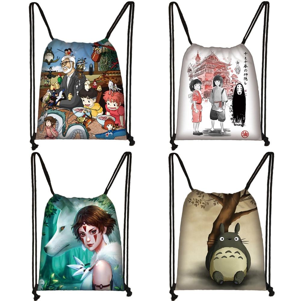 Cartoon Spirited Away / Totoro Drawstring Bag Women Fashion Storage Bags Teenager Boys Girls Backpack Travel Shopping Bag Gift