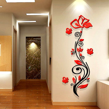 Rose flower entranceway tv background wall modern decoration crystal 3d three-dimensional Mirror wall stickers sofa painting red 1