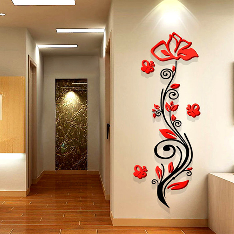 Rose flower entranceway tv background wall modern decoration crystal 3d three-dimensional Mirror wall stickers sofa painting red