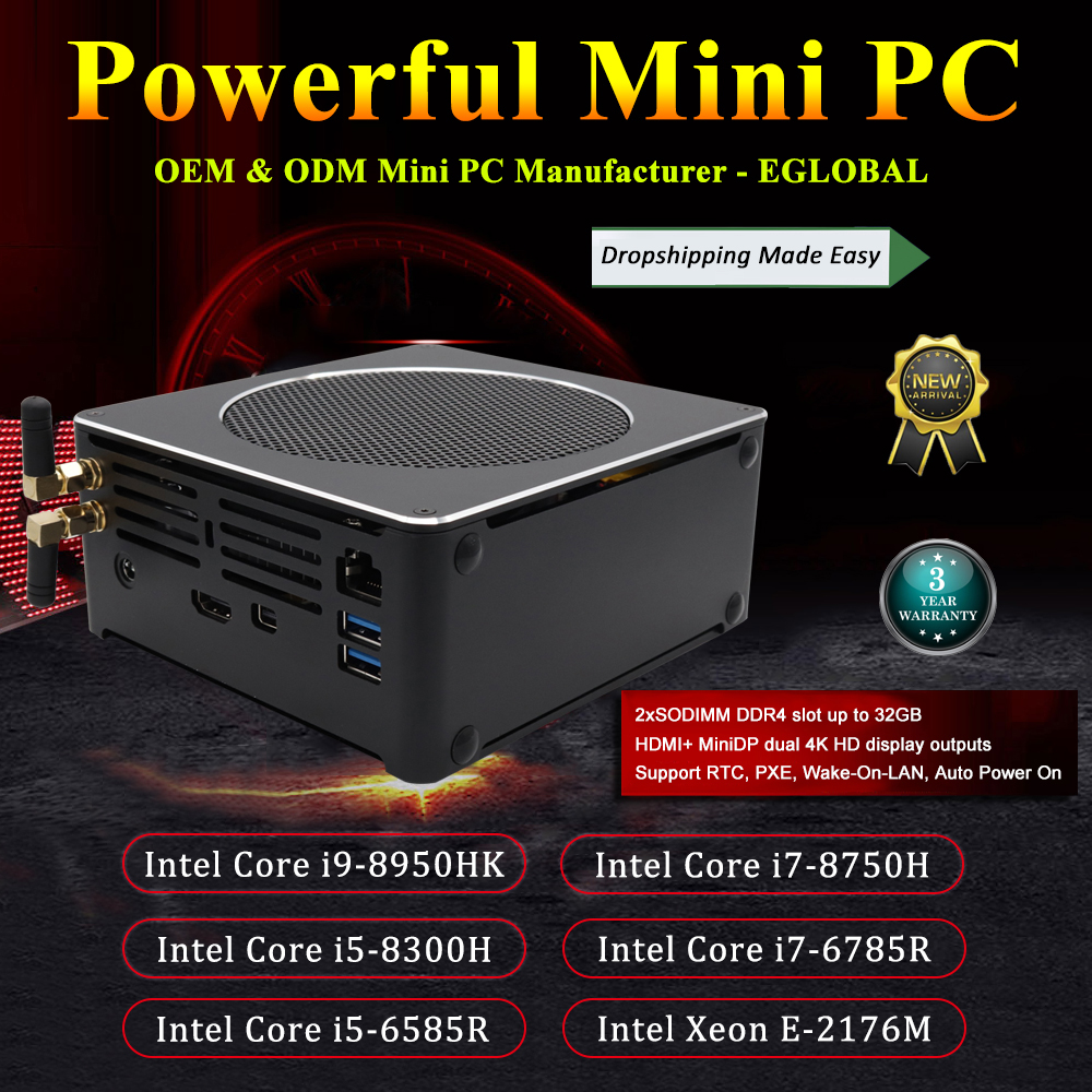 Eglobal Gaming Mini PC I9 8950HK I7 8750H Xeon E3-15 DDR4 Nuc Computer Win 10 Pro NVMe PCIe 2*DDR4 32GB 64GB AC WiFi HD + DP