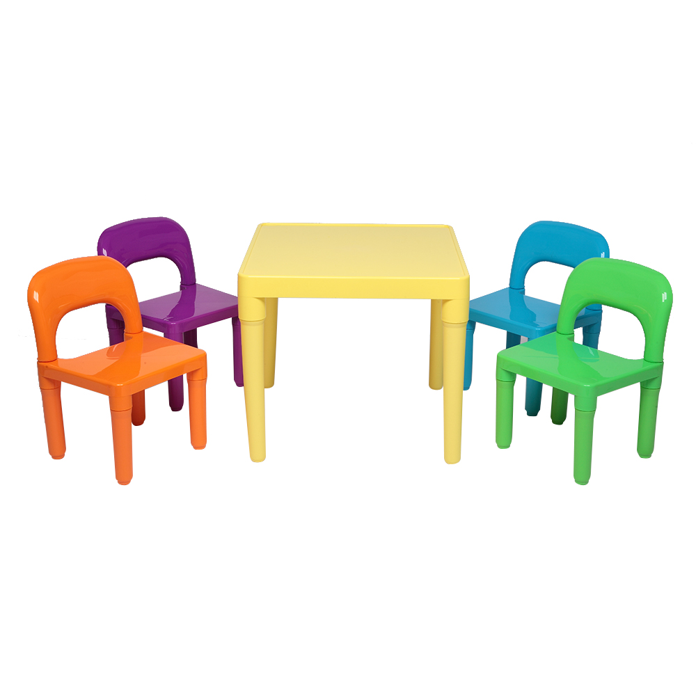 Plastic Kids Table With 4 Chairs Set For Boys Girls Toddler Reading Writing QP2