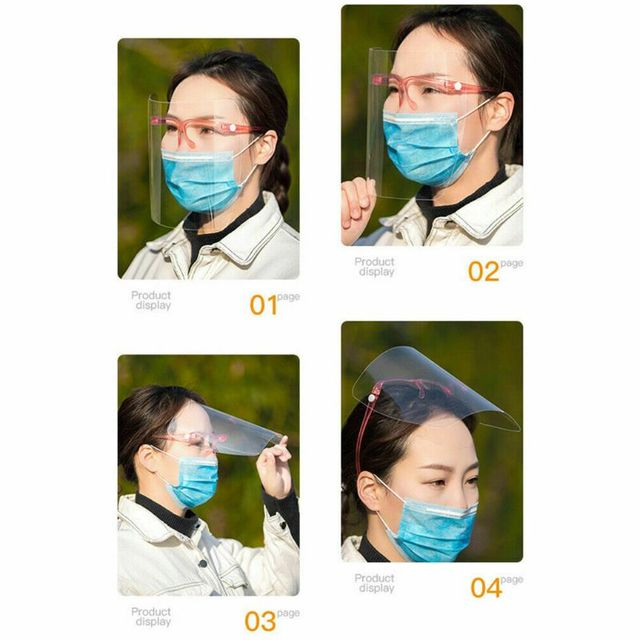 Full Face Covering Transparent Anti-saliva Dust-proof Shield Flip Up Visor Oil Fume Protection Masks protective Visor Shield 2
