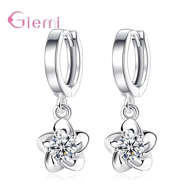 Fashion Geometric 925 Sterling Silver Cubic Zircon  Dangel Earring for Women Girl Elegant Trendy Jewelry Oorbellen Brincos